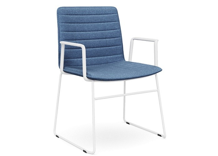 DD Nikola Sled base Chair with Arm Rest in White Frame