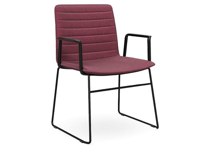 DD Nikola Sled Base Chair with Arm Rest in Black Frame
